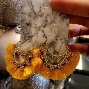 Yellow fringed boho earrings